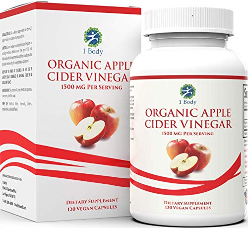 Organic Apple Cider Vinegar Pills - Bloating Relief & Weight Loss - Hunger Suppressant for Women & Men - May Assist with Detox Cleanse, Weight Loss, Healthy Digestion - 1500 mg - 120 caps (Best Apple Cider Vinegar Pills For Weight Loss)