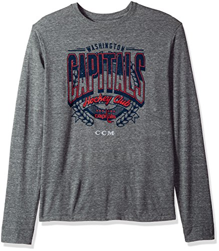 NHL Washington Capitals Centennial Fly High Tri-Blend Long Sleeve Tee, Large, Dark Grey Heathered