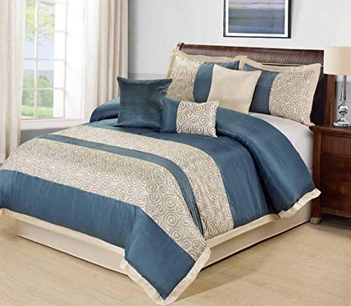 - Kaputar 7 Piece Liverpool Circle Embroidery Patchwork Comforter Set Blue Queen | Model CMFRTRSTS - 4314 | Queen