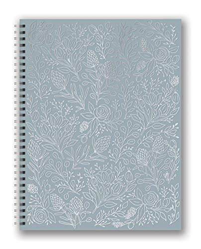 Studio Oh! Extra Large Hardcover Spiral Notebook Available in 6 Designs, Stacy H. Kim Silver Flower Vines on Gray
