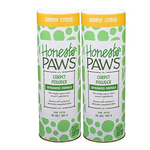 Honest Paws Carpet Powder, Pack of 2 | Citrus Scented Carpet Cleaner and Pet Odor Eliminator | Safe and Non-Toxic