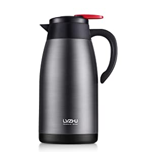 Thermal Coffee Carafe 68 Ounce,Double Wall Stainless Steel Insulated Beverage Keep Water Hot Up To 12 Hours,Vacuum Pot With Press Button Top Twist Open Easy(Gray)
