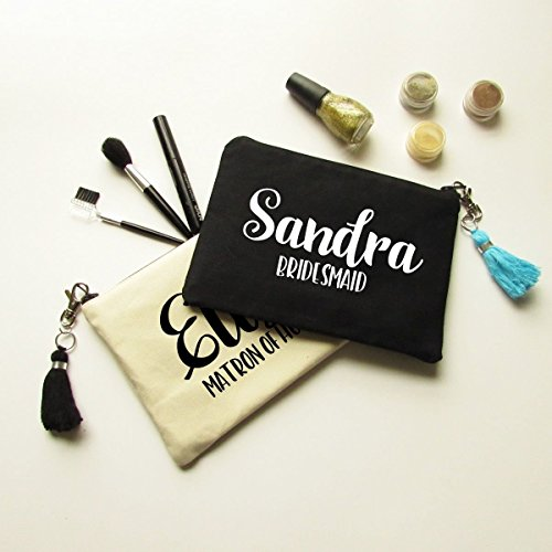 Personalized Makeup Bag with Tassel Gift for Bridesmaids - Canvas Pouch with Name & Bridal Party Title by Hint of Juniper