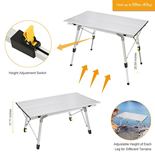 Rokoo folding camping table portable height adjustable aluminum rokoo folding camping table portable height adjustable aluminum picnic table with carrying bag for camping watchthetrailerfo