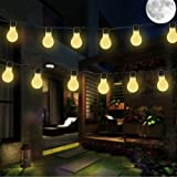 Solar Bulbs String Lights, MUEQU Waterproof 4.9 ft 10 LED Clear Bulbs Globe Fairy Lights Warm White Outdoor LED Decorative Lights for Wedding Party Garden Christmas