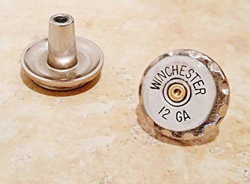 Rustic Shotgun - Silver Drawer Pull Cabinet Knob - Silver 12 ga Recycled Shotgun Bullet Gun Ammo