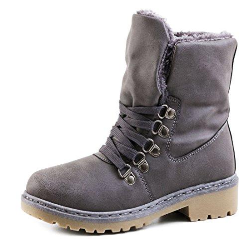 Damen Winter Schnür Boots Schuhe Stiefel mit Kunstfell in Lederoptik warm gefüttert Grau 38