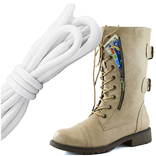 DailyShoes Womens Military Lace Up Buckle Combat Boots Mid Knee High Exclusive Credit Card Pocket, White Black Flirty Beige