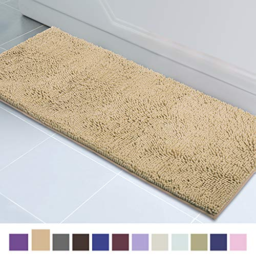 ITSOFT Non Slip Shaggy Chenille Soft Microfibers Runner Large Bath Mat for Bathroom Rug Water Absorbent Carpet, Machine Washable, 21 x 59 Inches Beige