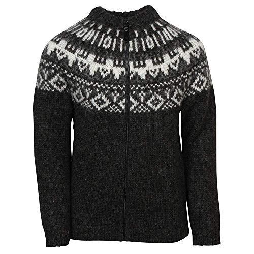 ICEWEAR Elmar Kid's Sweater Lopapeysa Design 100% Icelandic Wool Long Sleeve Crew Neck Winters Sweater with Full Zipper - Black - Icelandic Sweaters Wool