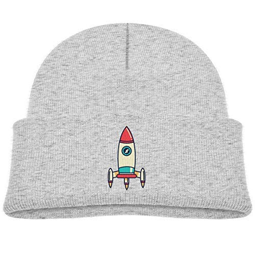 RS-pthr Kids Knitted Beanies Hat Rocket Ship Space Winter Hat Knitted Skull Cap Boys Girls Black