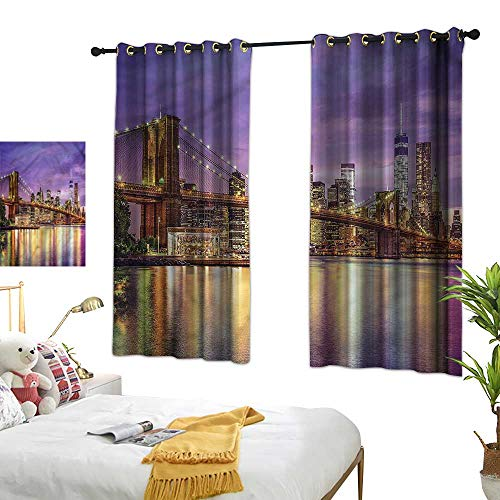Simple Curtain New York Girl Room Blackout Curtain Broadway Scenery NYC 55
