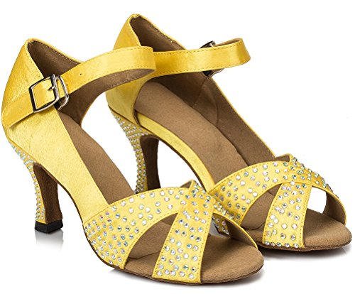 Womens Comfort Satin Yellow Latin Tango Shoes Professional Salabobo L038 Dance 56Owx5R