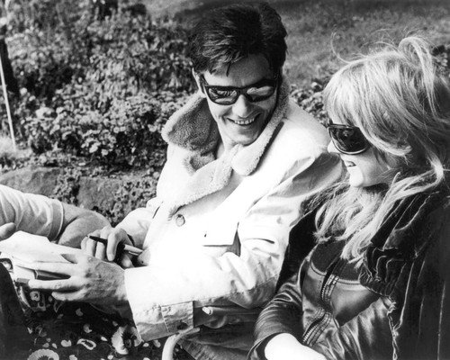 Marianne Faithfull and Alain Delon in The Girl on a Motorcycle cool on set in sunglasses 8x10 Promotional - Sunglasses Promotional Kids