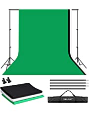 CRAPHY 3Mx2M Fond Photo Studio, Support Système de Toile de Fond avec 3x3Mx2M Fond Photo Moussline(Vert/Noir/Blanc) + 1 Support de Fond + 2 Pinces + 1 Sac de Transport