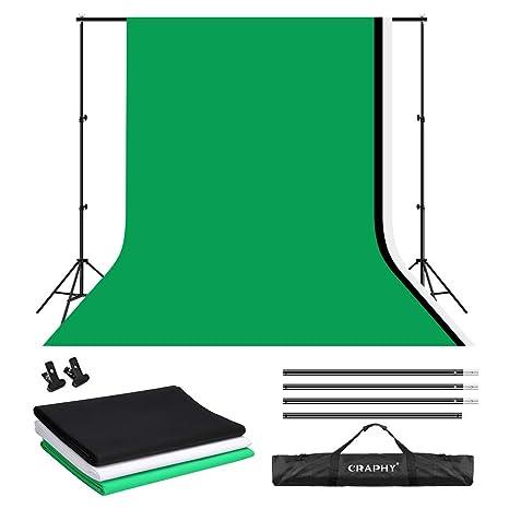 Craphy Fondale Fotografico Kit 3m X 2m Sfondo Supporto Studio Portatile Mussola Sistema Di Supporto Fondo Con 3 Fondale 28mx 18m Verde Nero E