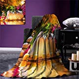 smallbeefly Spa Digital Printing Blanket Asian Classic Spa Day Joy in The Garden Romantic Candles Orchids Summer Quilt Comforter 80''x60'' Purple White Green