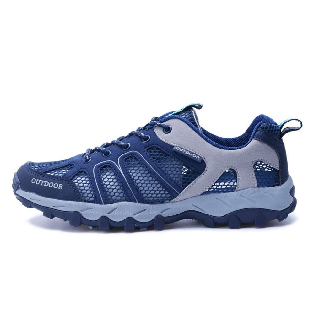 Ywqwdae Mens schnüren Sich Oben Schuhe weiche Sohle Rutschfeste beiläufige Breathable Quick Dry Outdoor Trainer (Farbe   Blau, Größe   EU 44)