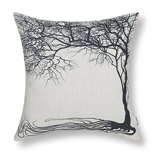 - CaliTime Canvas Throw Pillow Cover Case for Couch Sofa Home Decoration Vintage Big Old Tree 18 X 18 Inches Black