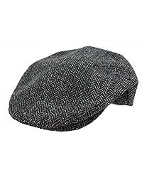 John Hanly & Co. Irish Tweed Flat Cap - Grey Herringbone - Large