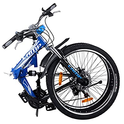 "Camp Alloy 26"" Folding Bike 21 Speed Dual Suspension Mountain Bike Rocky"