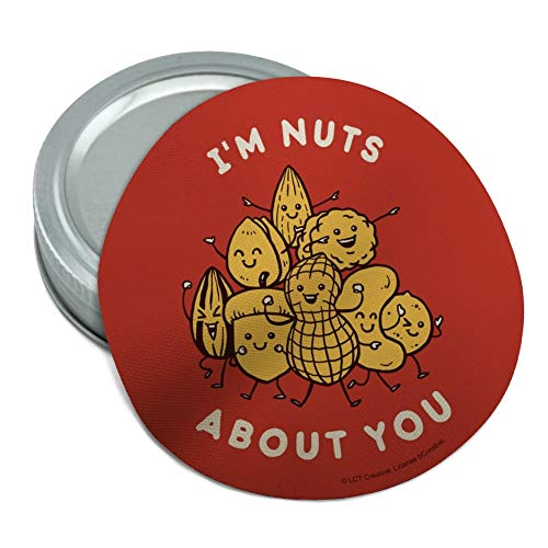 I'm Nuts About You Love Funny Humor Round Rubber Non-Slip Jar Gripper Lid Opener (You About Im Jar Nuts)