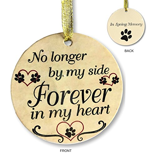 Pet Memorial Ornament - Ceramic Christmas Ornament For The Loss of a Pet - No Longer By My Side Forever In My Heart
