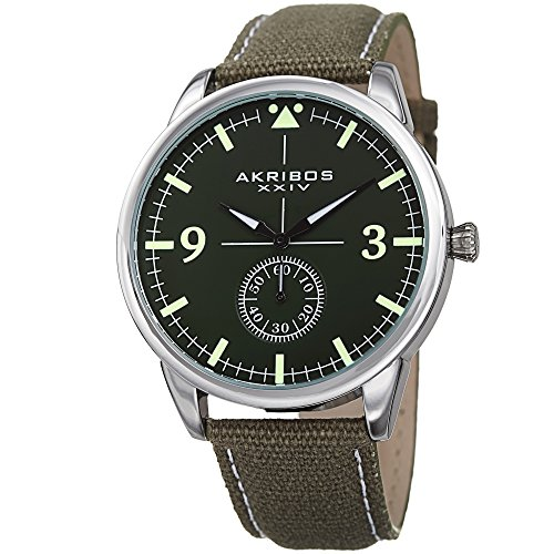 Akribos XXIV Gunmetal Designer Men's Watch – Casual Canvas Strap Fashion Wristwatch with Chronograph Dial – AK938GN