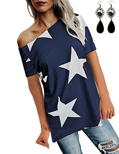 WAEKIYTL Women's Off Shoulder Short Sleeve T Shirt Casual Loose Fit Tops Blouses ()