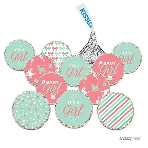 Baby Shower Mint Favor (Andaz Press Chocolate Drop Labels Trio, Fits Hershey's Kisses, Ultimate Girl Baby Shower Collection, Coral and Mint Green,)