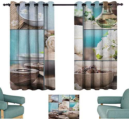 WinfreyDecor Spa Customized Curtains Far East Close to Your Heart Asian Massage Theme Collage Oils Candles Flowers Print for Living, Dining, Bedroom (Pair) 55