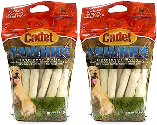 HDP Cadet Retriever Rolls Rawhide 10'' Size:Pack of 40 by HDP