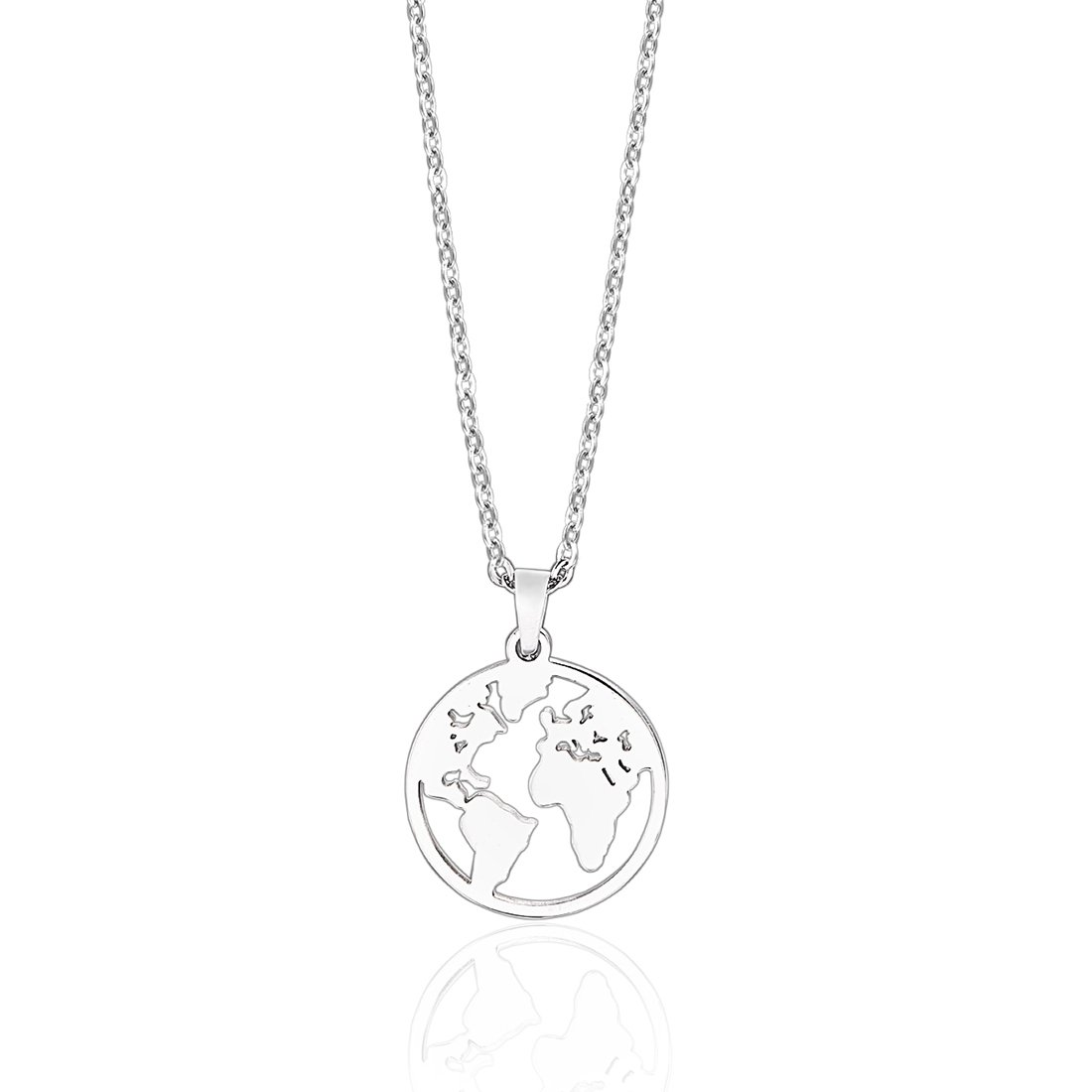 Anlive World Map Necklace Mother Earth Necklace Long Distance Travel Gift (Silver)
