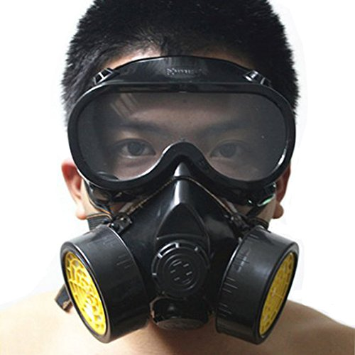 Vktech Industrial Gas Chemical Anti-Dust Respirator Mask Goggles Set (Style A)]()