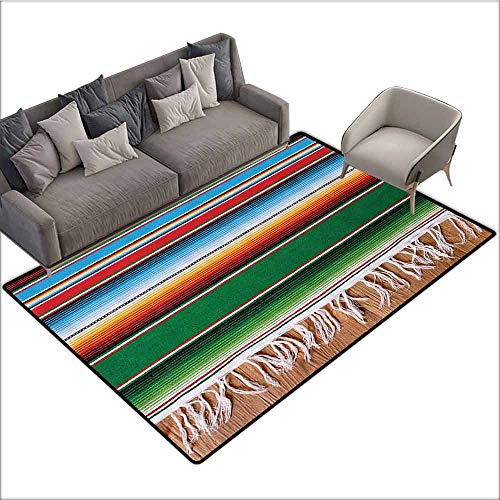 Floor Mats for Living Room Mexican Decorations,Boho Serape Blanket with Horizontal Stripes and Lines Authentic Picture,Multi 60