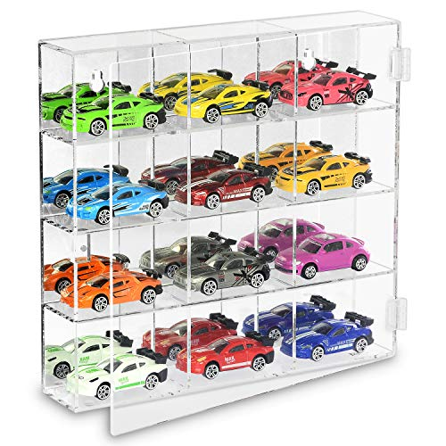 Ikee Design Mountable 12 Compartments Display Case Cabinet Stand with Mirrored Back - Display Shelves for Collectibles