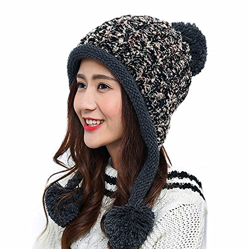 HUAMULAN Women Winter Thick Beanie Hat Ski Ear Flaps Caps Dual Layered Fleece Lined Pompoms,Black