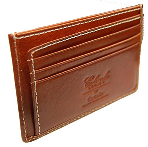 Castello Fine Italian Leather RFID Slim Front Pocket Wallet ()