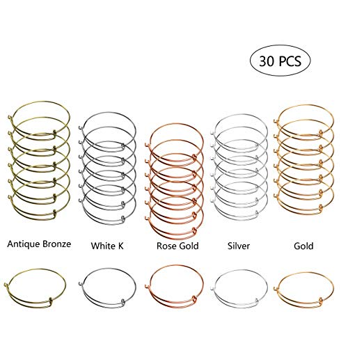 30 PCS Expandable Bangle Bracelet Adjustable Wire Blank Bracelet Expandable Bangle for DIY Jewelry Making Charms Bracelets (Silver White K Antique Bronze Gold Rose Gold)