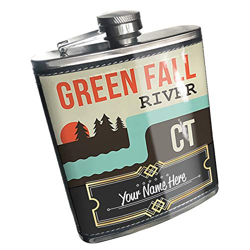 Neonblond Flask USA Rivers Green Fall River - Connecticut Custom Name Stainless Steel