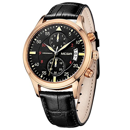 MEGIR Mens Chronograph Date Stainless Steel Case Leather Military Sports Quartz Dress Watches