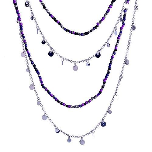 LUREME Multi Strand Slim Silver Chain Purple Blue Black Bead Long Charm Necklace for Women 01001429-1 ()