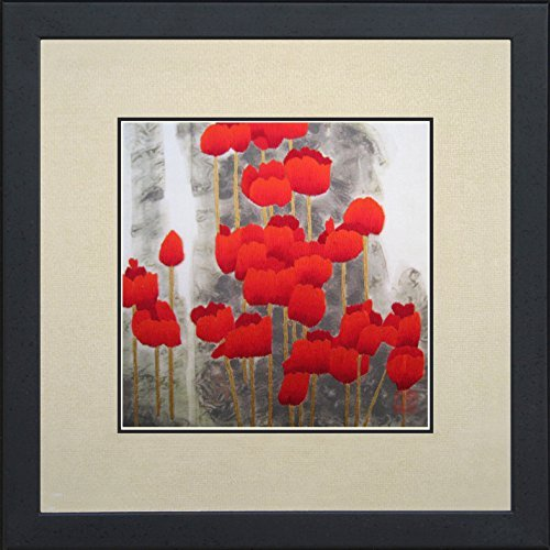 Red Poppies Oriental Wall Hanging  Asian  Tapestry