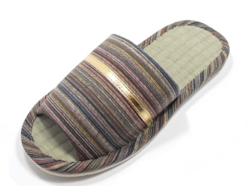 Image of KNP21301T-Mens Strip Indoor Tatami Bamboo Slippers Available three colors and four sizes