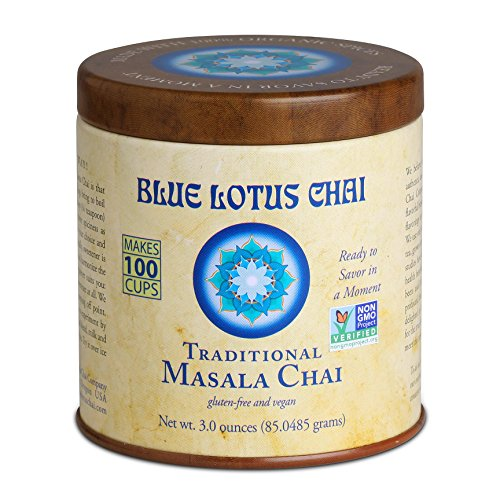 Mix Chai (Blue Lotus Chai - Traditional Masala Chai - Makes 100 Cups - 3 Ounce Masala Spiced Chai Powder with Organic Spices - Instant Indian Tea No Steeping - No Gluten)