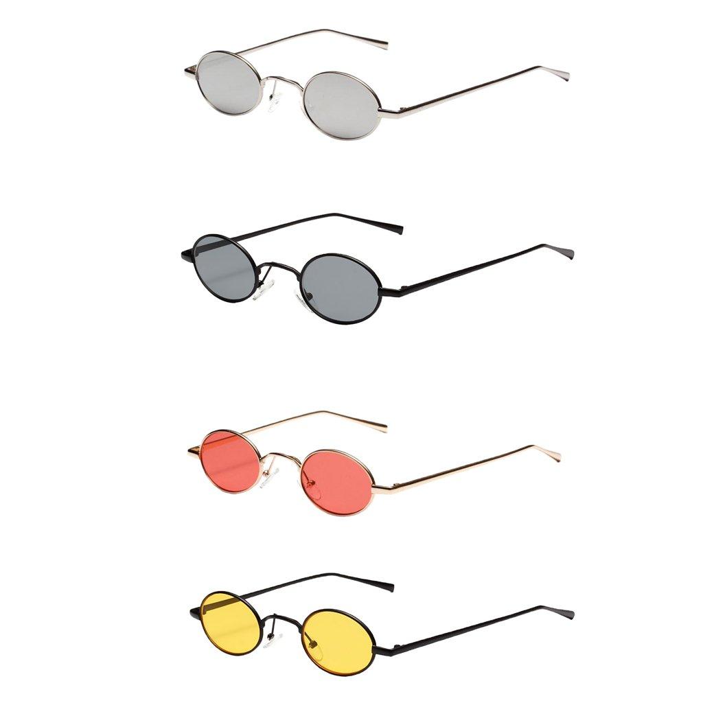 9fb17938ed5f72 MagiDeal Damen Herren Sonnenbrille Oval Kleine Sonnenbrillen polarisierten  Brille Kunststoff UV-Schutz Gläser Linse für Party Freizeit - Weißsilber:  ...