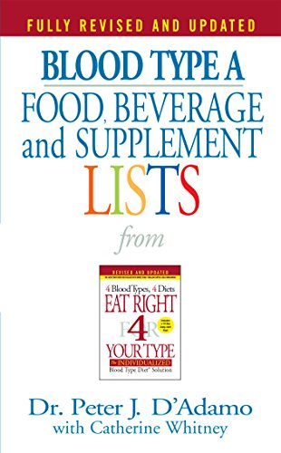 - Blood Type A  Food, Beverage and Supplement Lists (Eat Right 4 Your Type)