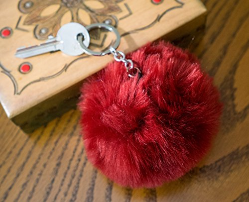 Burgundy 10cm Faux Vegan Fur ECO Pompom Keyring Keychain Handbag Charm Silver Chain Large Big Massive Oversized - Store Uk Armani