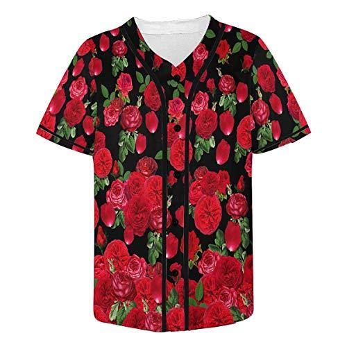 - INTERESTPRINT Men's Red Roses Green Leaves Hipster Short Sleeve Full Button Baseball Jersey Shirts 2XL