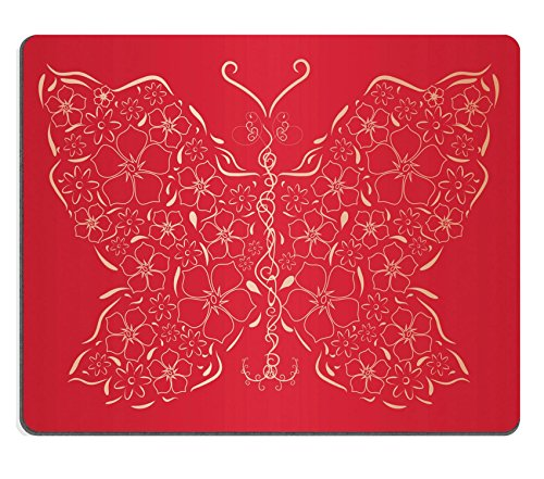 Liili Mouse Pad Natural Rubber Mousepad IMAGE ID: 9069358 Figured gold butterfly on red background Vector illustration (Desk Collection Figured)